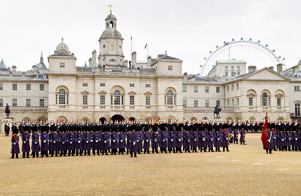Guard of Honour parade of guardsmen soldiers on Horse Guards Parade in London, England