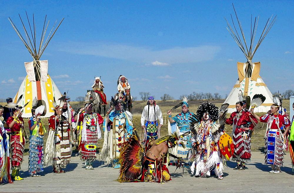 Canadian Plains First Nation Indians at cultural display at Wanuskewin Heritage Park in Saskatoon, Canada