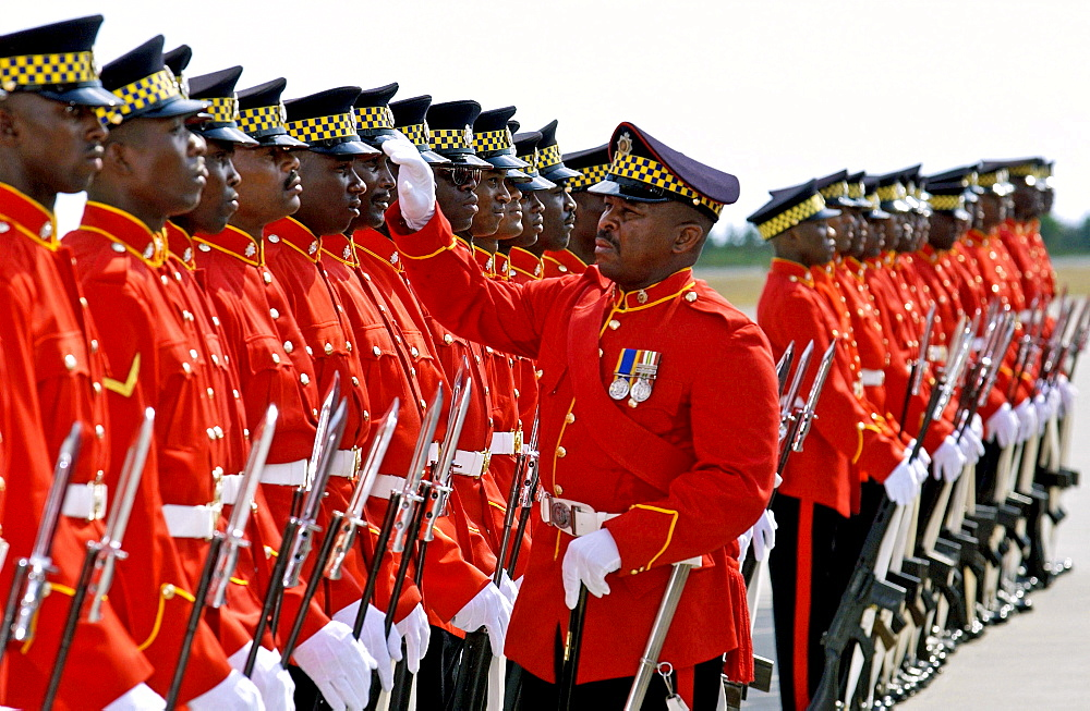 Soldiers of the Jamaica Defence Force are made ready for inspection