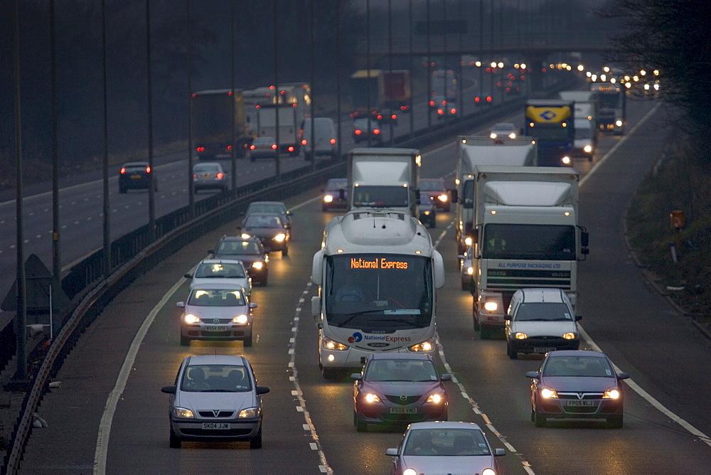 Southbound traffic on M1 Motorway in Northampton, United Kingdom.