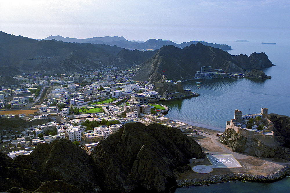 Aerial view showing the Sultan's Palace in the centre of Muscat water-front, Oman