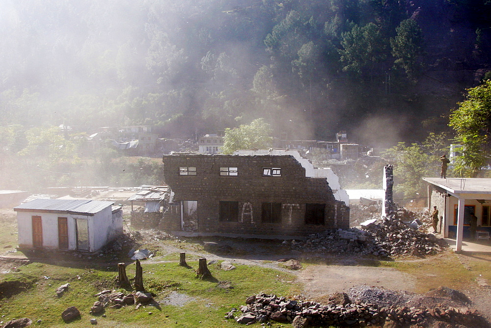Buildings demolished in earthquake area of Azad Jammu Kashmir, in village of Pattika, Pakistan