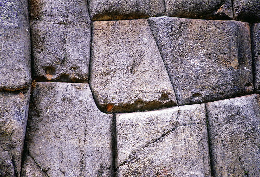 Stone wall of Sacsayhuaman above Cusco in Peru, South America