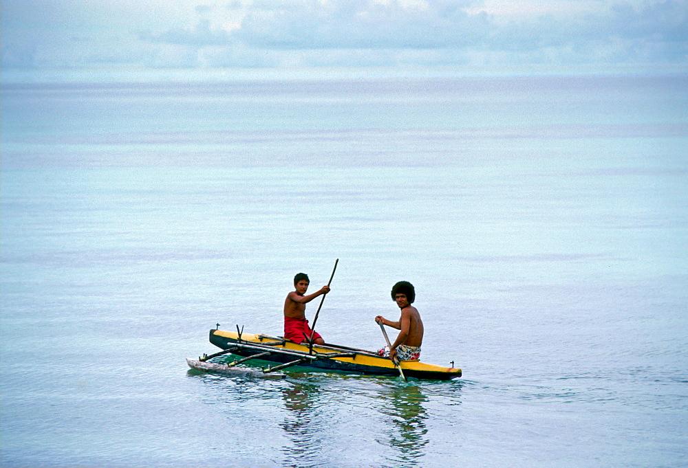 Men in Canoe, Tuvalu, South Pacific