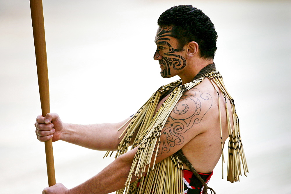 Traditional Haka performed by  Maori warrior
