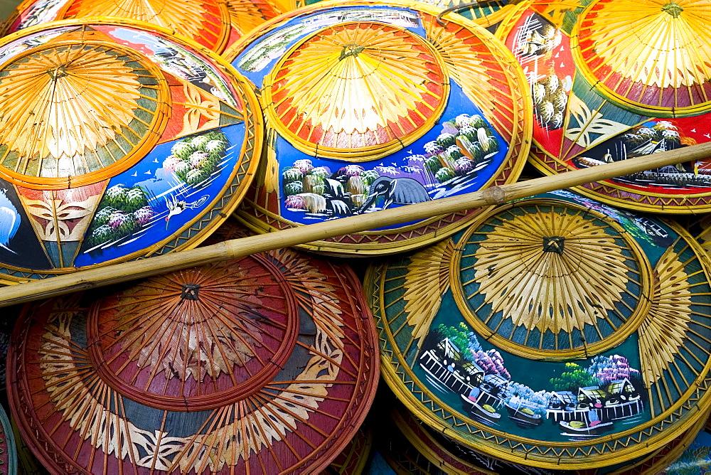 Hats for sale in the Damnern Saduak floating market, Bangkok, Thailand - 1161-2798