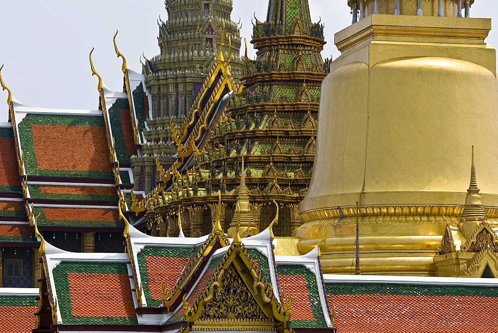 Roofs of the Prasat Phra Thep Bidon and Phra Sri Ratana Chedi, Bangkok, Thailand.