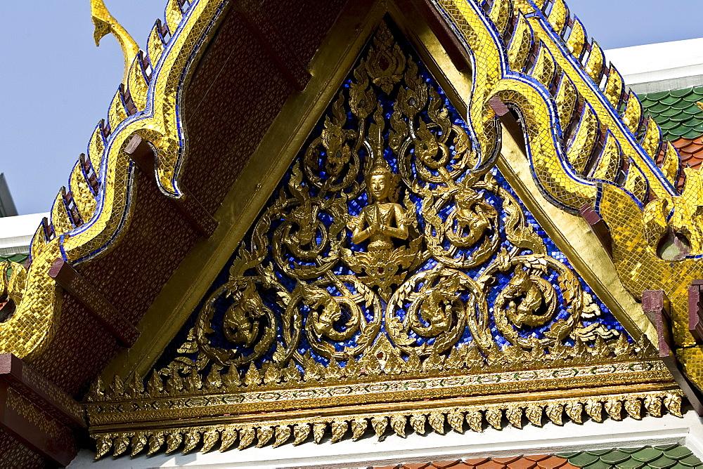 Decorative frieze pediment on the Grand Palace, Bangkok, Thailand