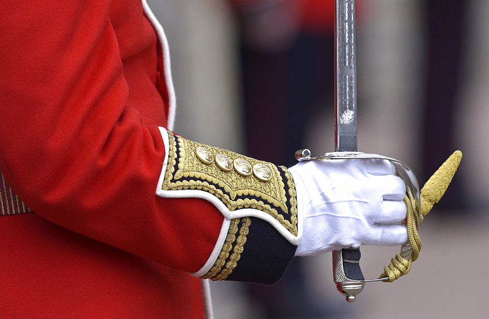 Guardsman with sword, United Kingdom.