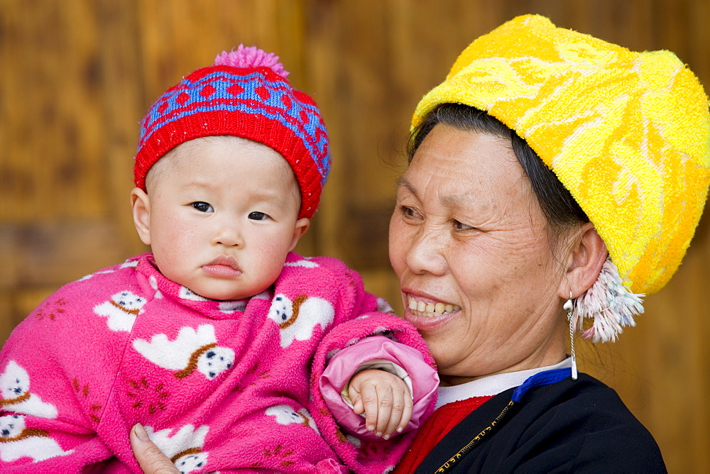 Grandmother and child from Zhuang Minority Group, Ping An, Guilin. China has a one child policy to limit population. - 1161-3458