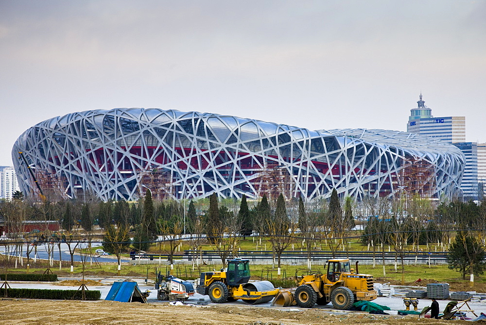 Construction at Olympics site, The Beijing National Stadium, The Bird's Nest, China