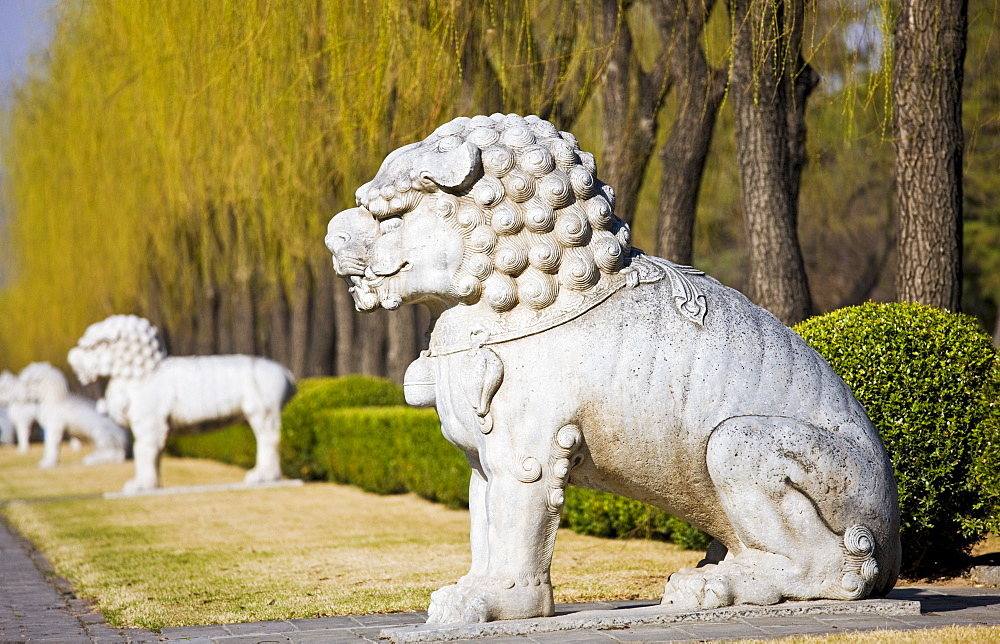 Statue of a resting lion, Spirit Way, Ming Tombs, Beijing (Peking), China