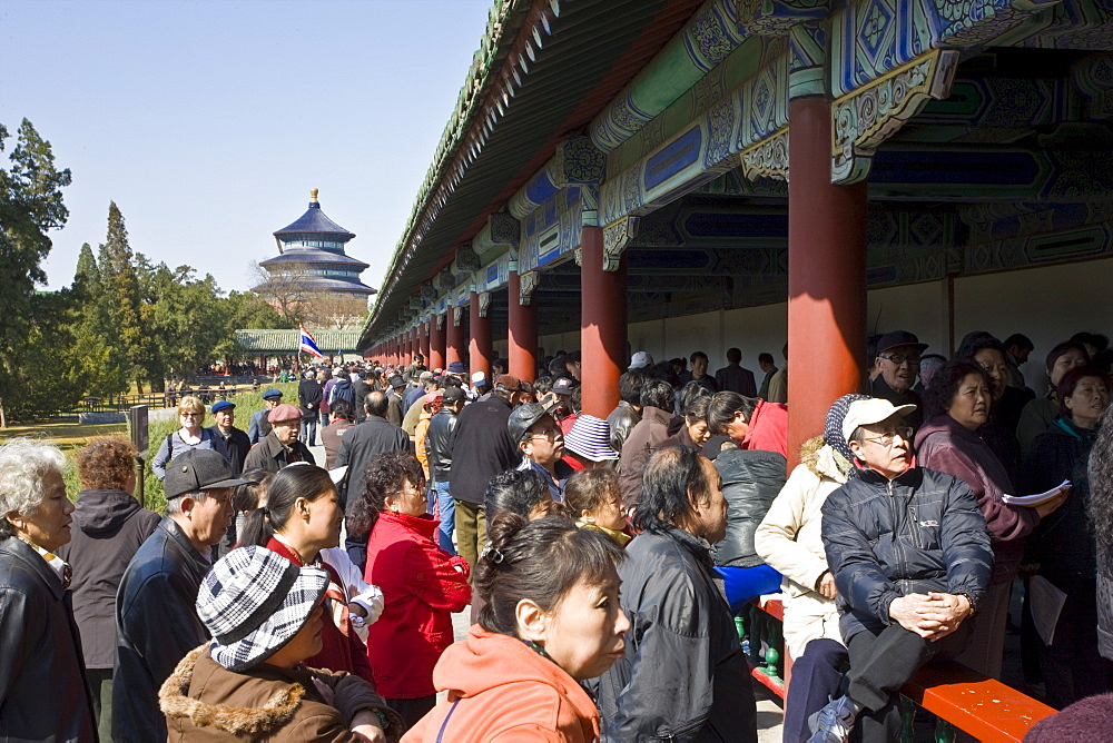 Gathering at the Ghost Corridor in park of the Temple of Heaven, Beijing, China