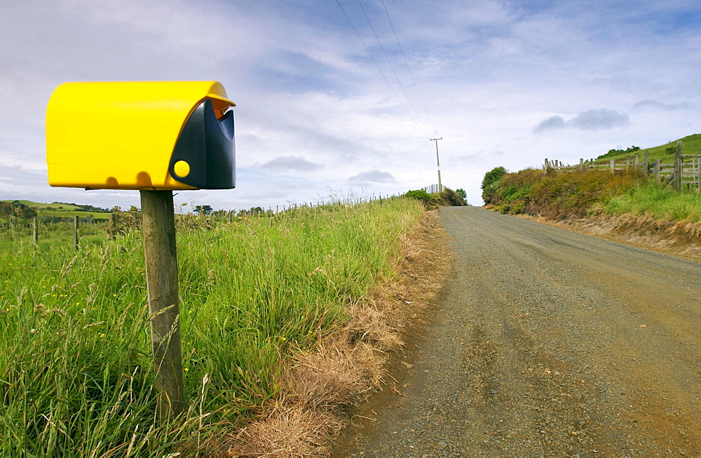 Modern plastic mailbox, North Island, New Zealand