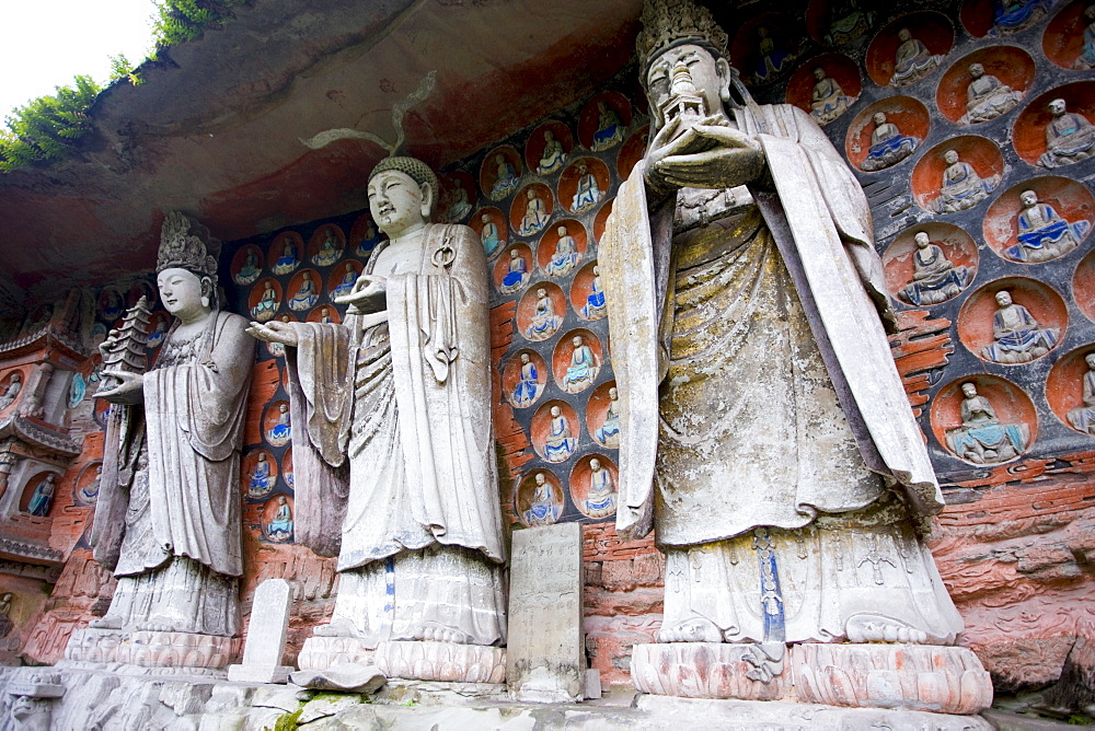Dazu rock carvings of Buddha of Wisdom, Buddha of Great Sunlight, Buddha of Mercy, Mount Baoding, China