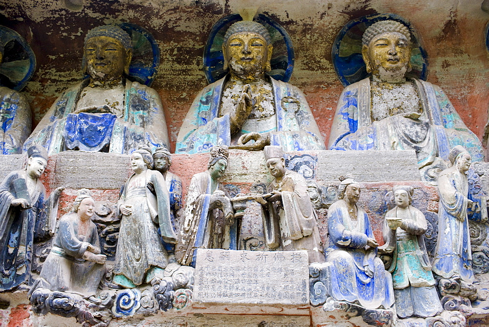 Dazu rock carvings buddhas and religious scene at Mount Baoding, Chongqing, China