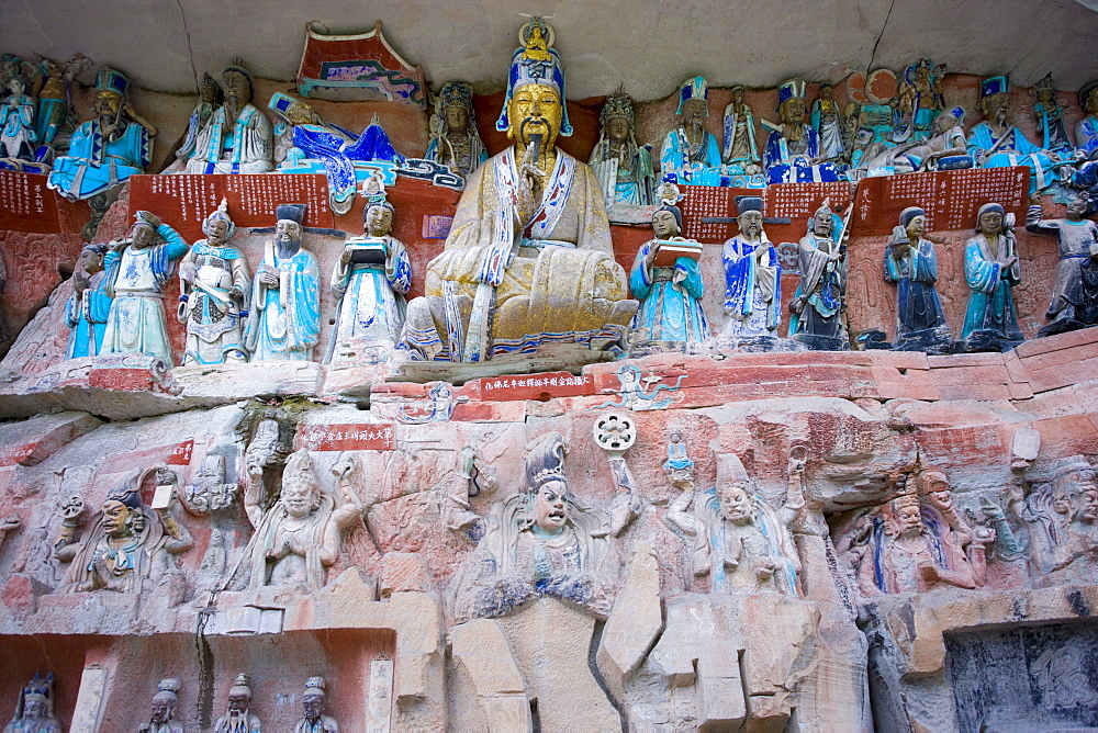 Dazu rock carvings reliious scene at Mount Baoding, Chongqing, China