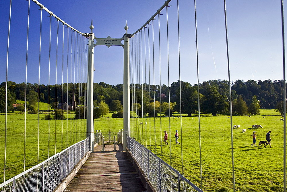 Suspension footbridge, Wye River in Sellack, Herefordshire, England, United Kingdom