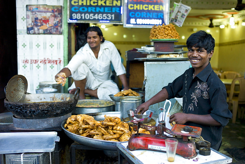 Food on sale at Chicken Corner in Snack market at muslim Meena Bazar, in Old Delhi, India - 1161-4217