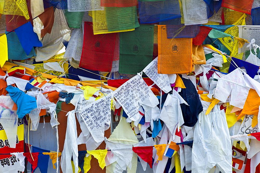 Buddhist prayer flags at Mulagandhakuti Vihara Temple at Sarnath near Varanasi, Benares, Northern India