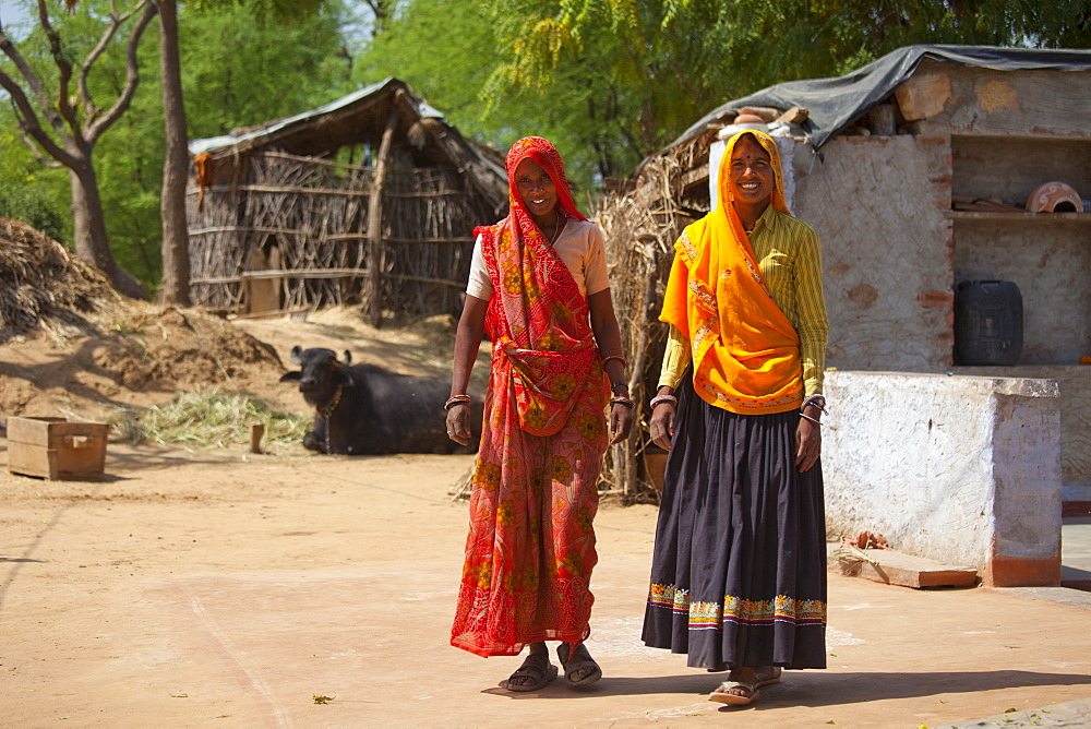 Indian woman villagers at home at Kutalpura Village in Rajasthan, Northern India