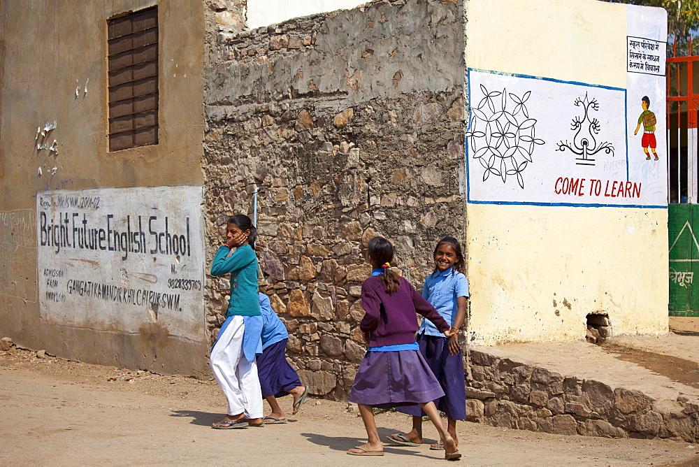Indian schoolgirls in school uniform at Bright Future English School in Sawai Madhopur, Rajasthan, Northern India