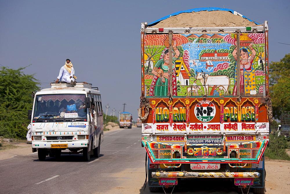 Road scene and decorated Tata truck at Rasulpura in  Sawai Madhopur, Rajasthan, Northern India