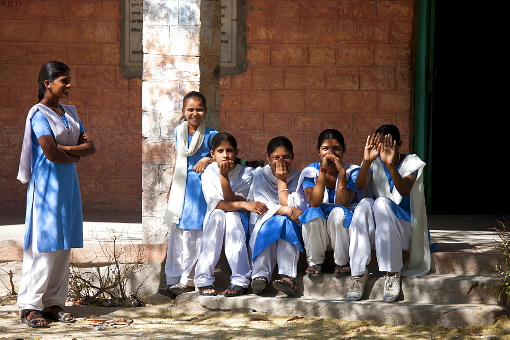 Indian Hindu schoolchildren at state school at Kaparda village in Rajasthan, Northern India