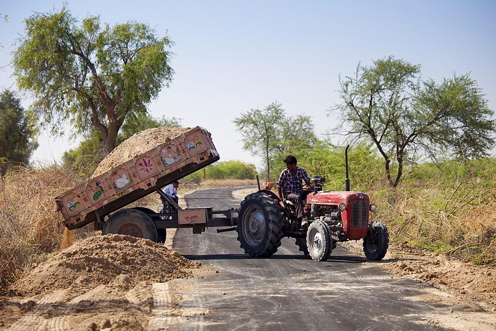 Roadworks in Hindu village of Dhudaly in Rajasthan, Northern India