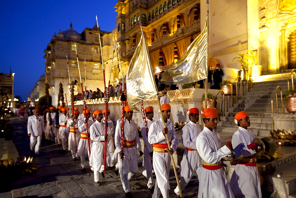 Ceremonial guard and band of 76th Maharana of Mewar, Shriji Arvind Singh Mewar of Udaipur, at Holi Fire Festival, City Palace, Rajasthan, India