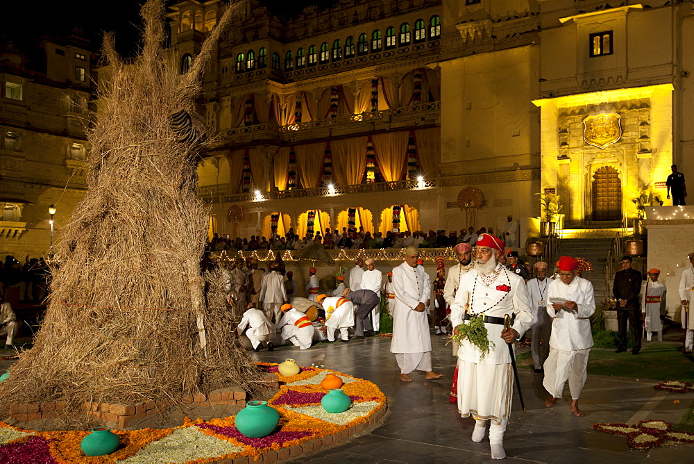 Shriji Arvind Singh Mewar of Udaipur, 76th Custodian of the House of Mewar, presides at annual Hindu Holi Fire Festival at The Zenana Mahal in the City Palace, Udaipur, Rajasthan, India.