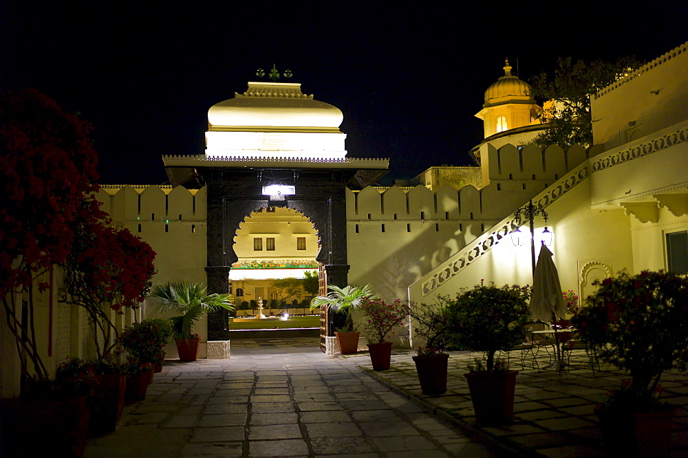 The Shiv Niwas Palace Hotel courtyard and fountain, part of HRH Hotels Group, in the City Palace Complex in Udaipur, Rajasthan, India