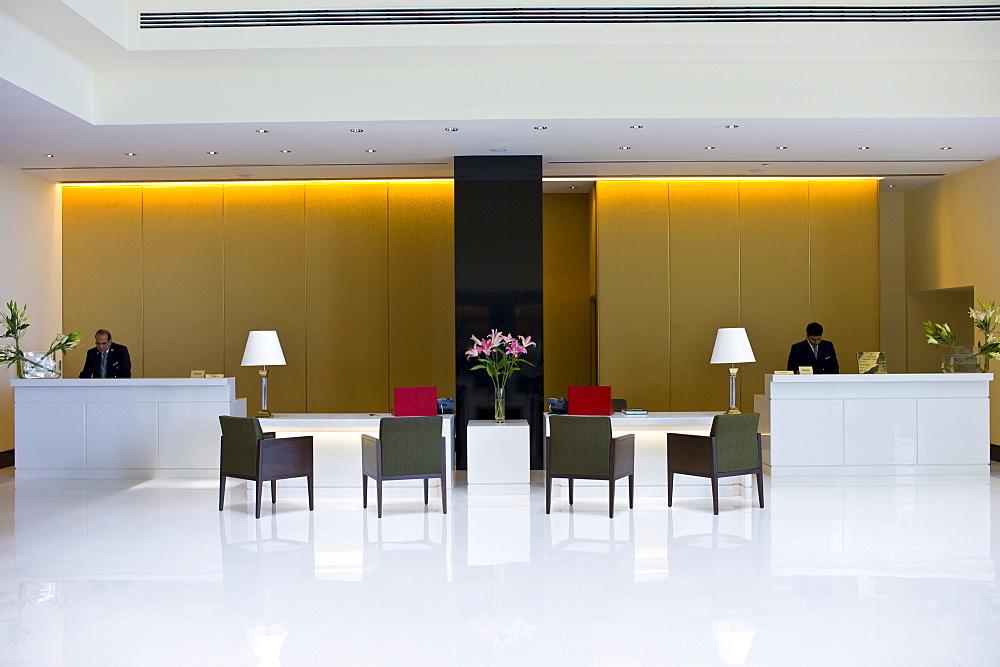 Lobby and Reception area in the 5-star Oberoi Mumbai Hotel at Nariman Point, Mumbai, formerly Bombay, Maharashtra, India
