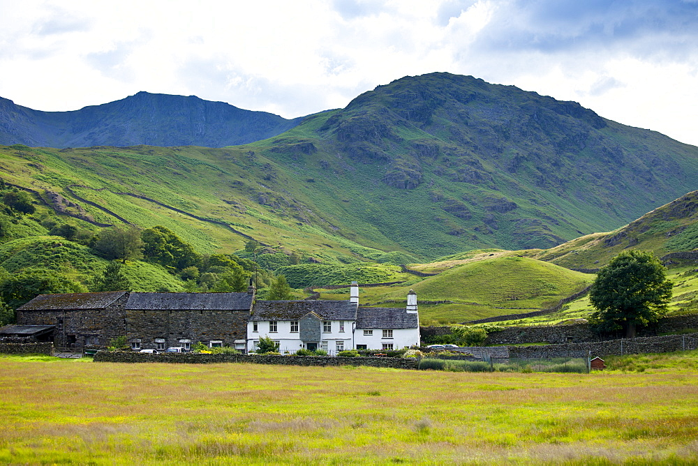 Fell Foot Farm in Little Langdale Valley at Langdale Pass surrounded by Langdale Pikes in the Lake District National Park, Cumbria, UK