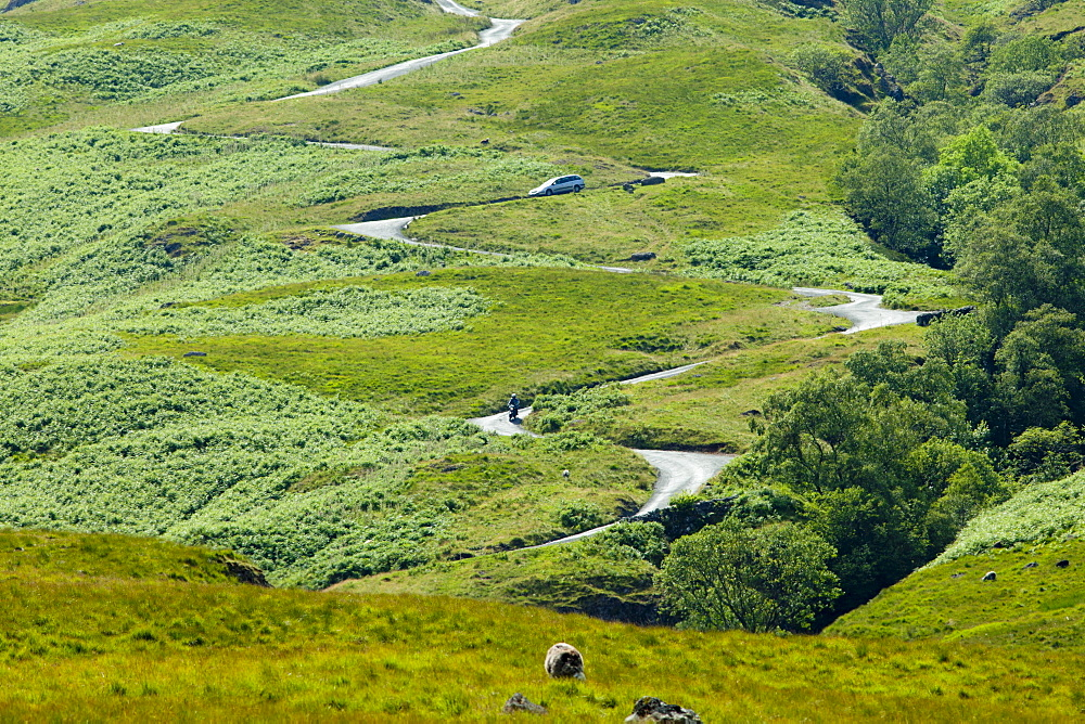 Hard Knott Pass in the Lake District National Park, Cumbria, UK