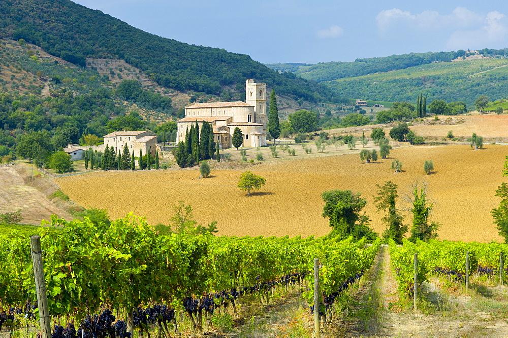 The ancient Abbey of Saint Antimo, Abbazia Sant'Antimo, near Montalcino, Val D'Orcia, Tuscany, Italy