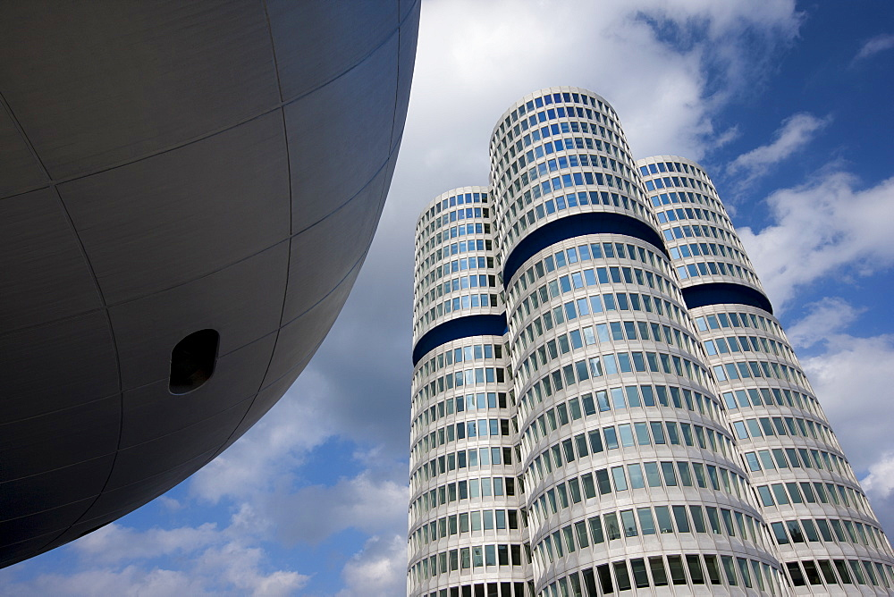 Modern architecture at the BMW Headquarters office blocks and Museum in Munich, Bavaria, Germany