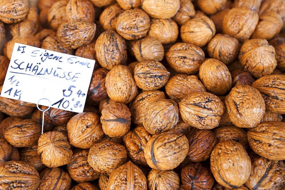 Fresh walnuts on sale in food market at Viktualienmarkt in Munich, Bavaria, Germany