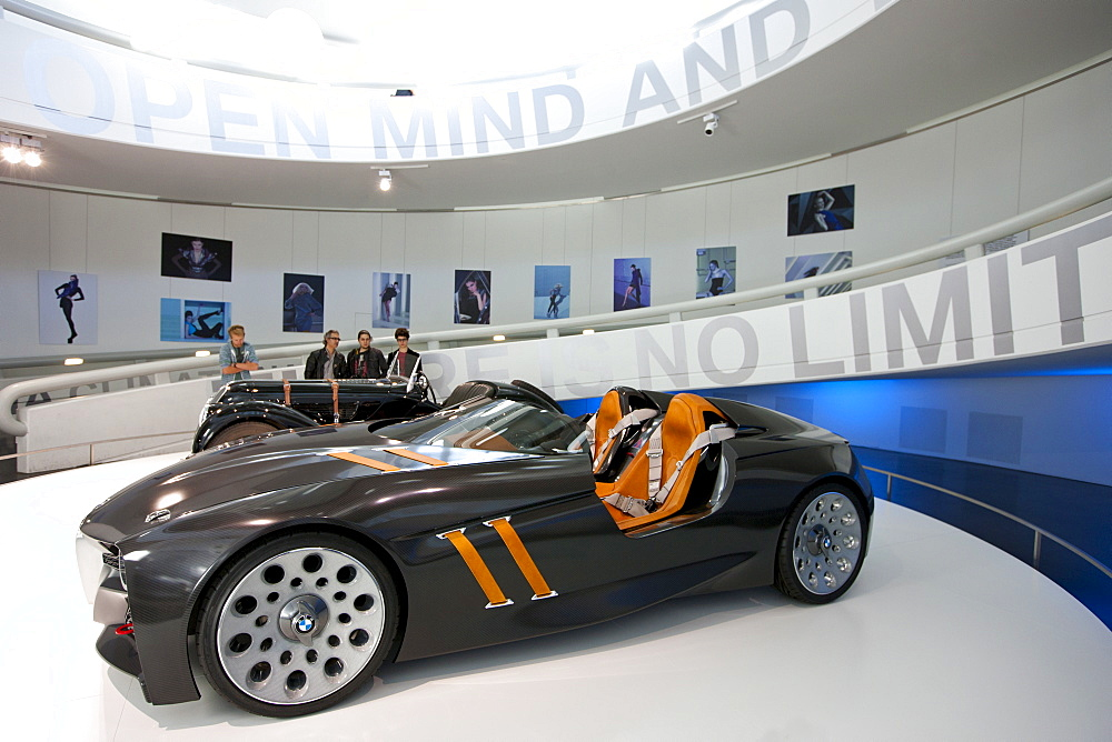 BMW concept sports car on display  at the BMW Museum and Headquarters in Munich, Bavaria, Germany