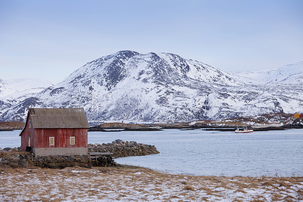 Fishing hut at Sommeroy, Kvaloya Island in Arctic Circle Northern Norway