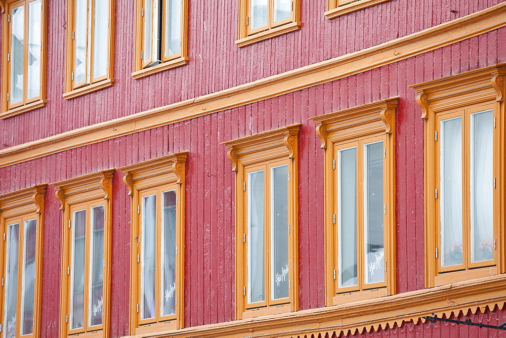 Traditional architecture in Storgata in city of Tromso, in the Arctic Circle in Northern Norway