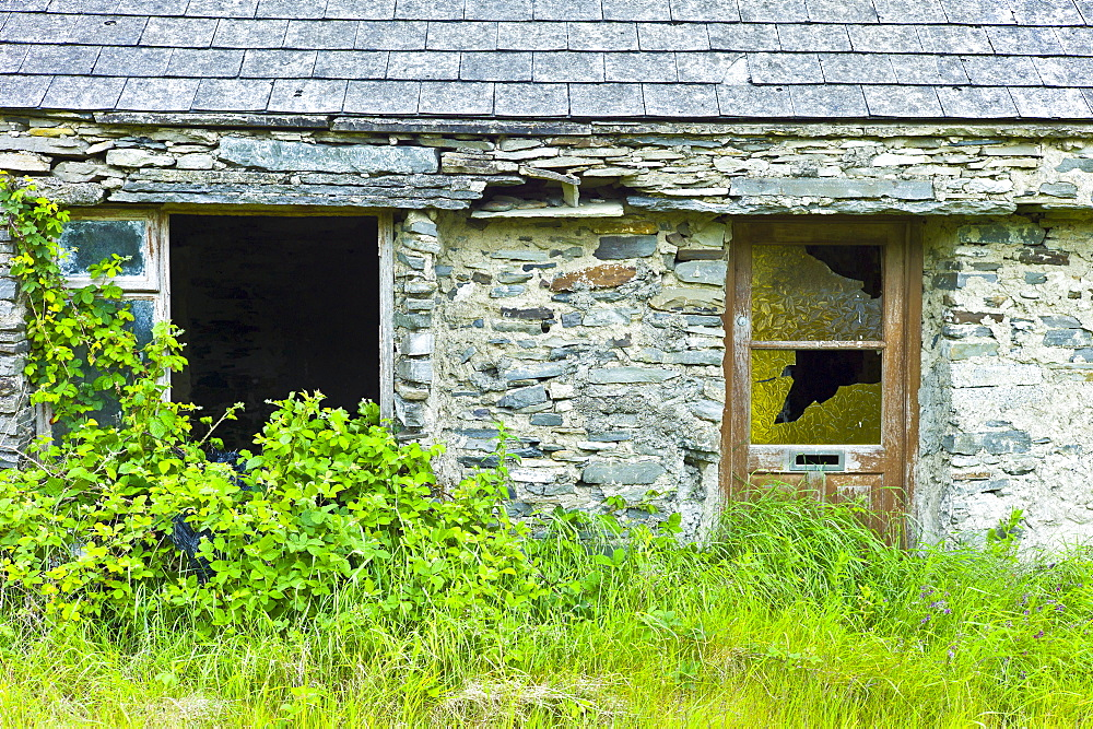 Derelict old period stone cottage rundown and in need of renovation, County Clare, West of Ireland