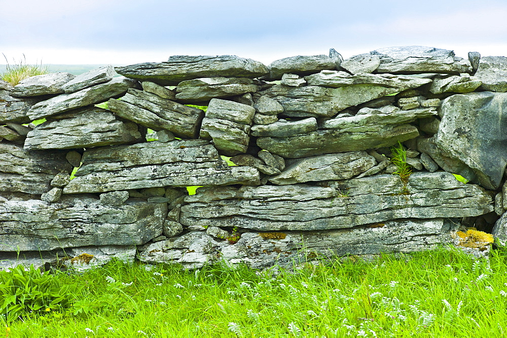 Traditional dry stone wall, stones laid flat, in field in The Burren, County Clare, West of Ireland