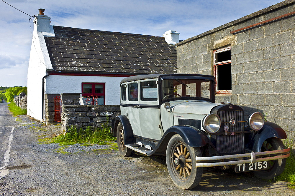 Old American Studebaker classic vintage car in Kilfenora, County Clare, West of Ireland