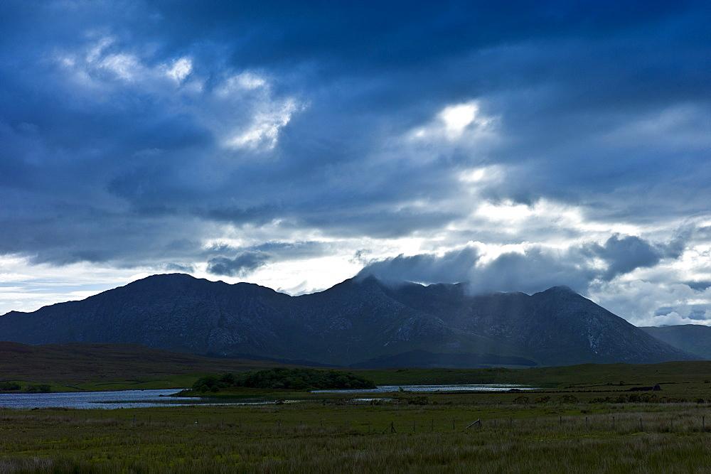 Ben Corr and Ben Corrbeg part of the Twelve Bens mountain range by Lough Inagh, Connemara, County Galway, Ireland