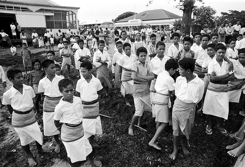 Young boys at tribal gathering in Tonga, South Pacific