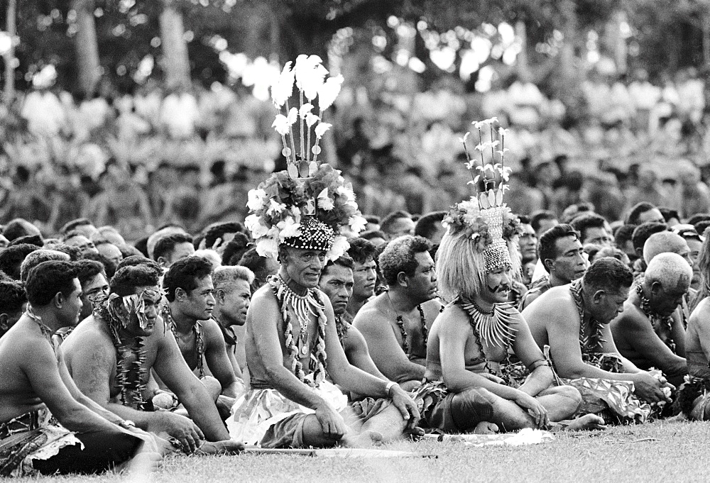 Natives at tribal gathering in Western Samoa, South Pacific