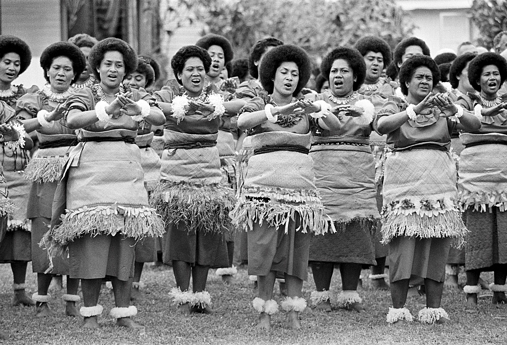 Local women dancing at traditional native kava ceremony at tribal gathering in Fiji, South Pacific - 1161-7366