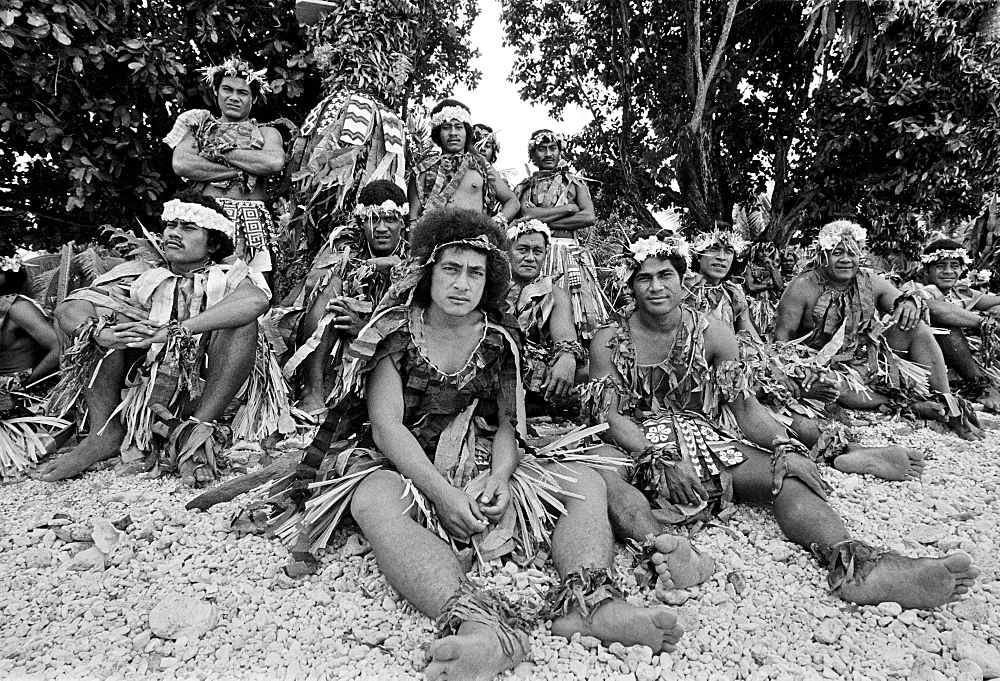 Local men in warriors costumes at cultural event in Tuvalu, South Pacific