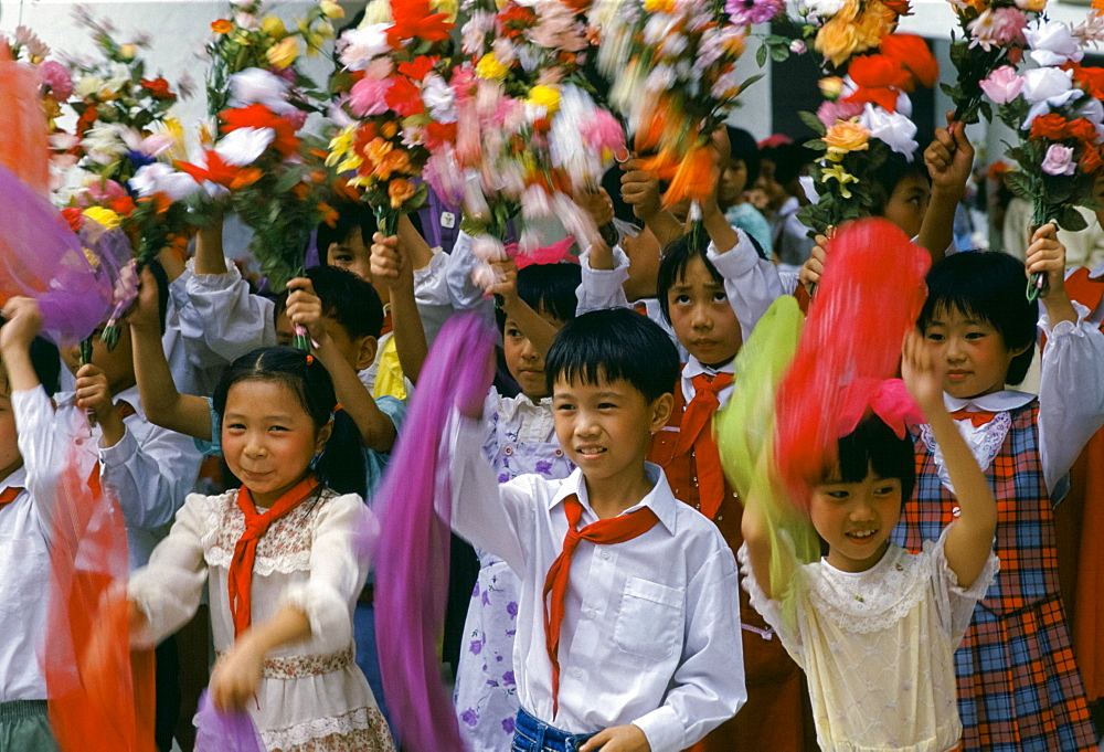 Chinese children performing dance display in Canton, China